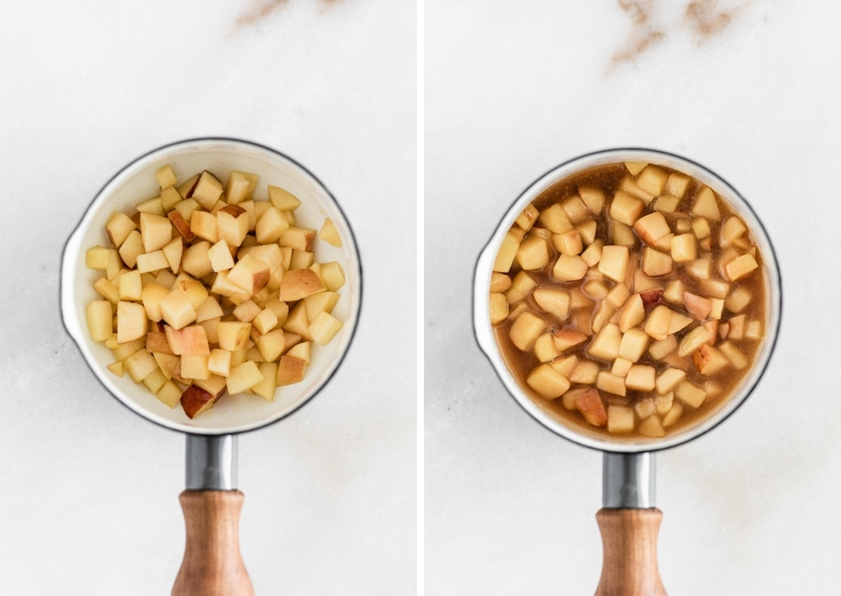 collage showing an overhead view of diced apples in a saucepan, and finished caramel apple sauce in the saucepan.