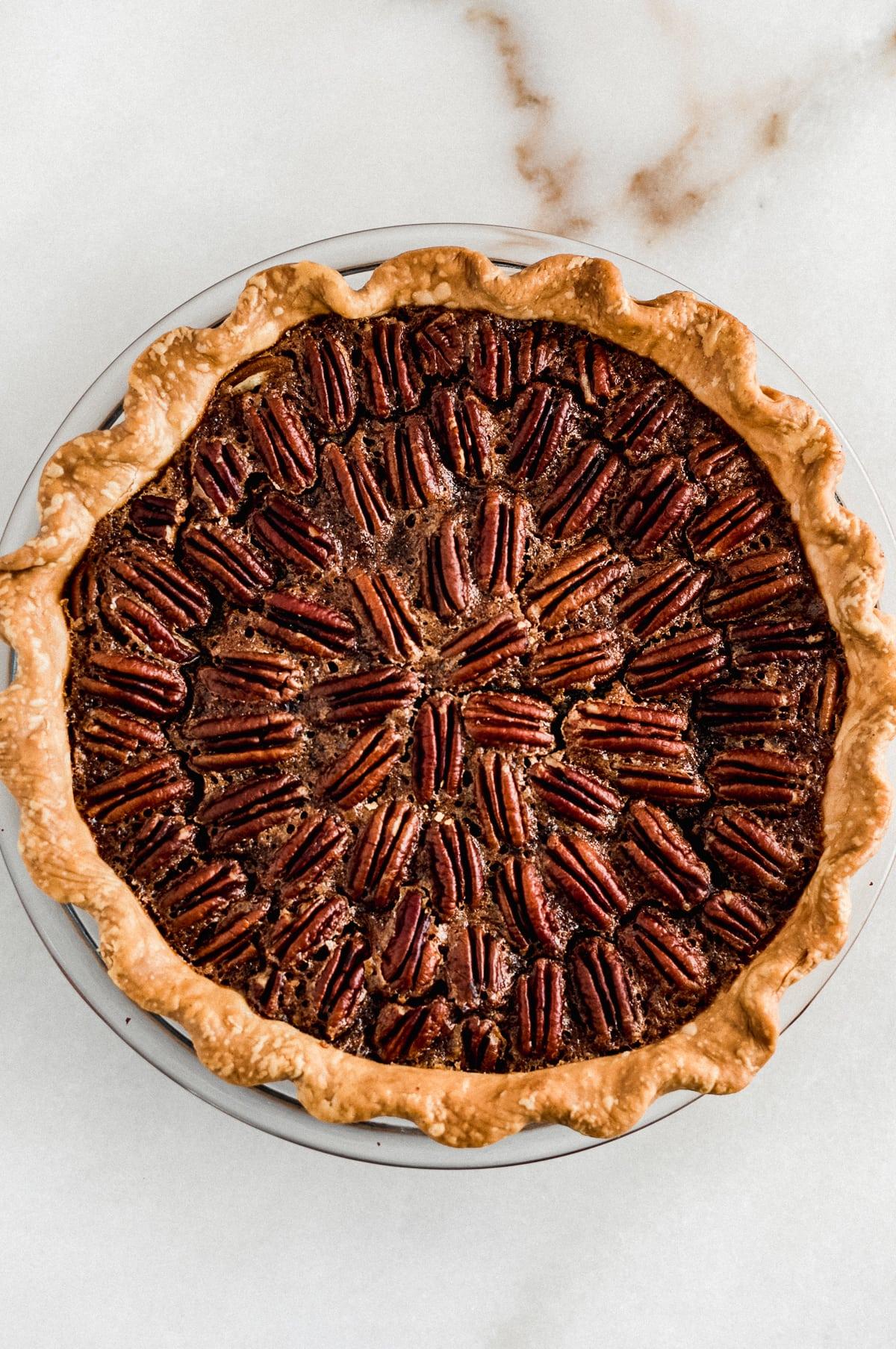 overhead view of baked pecan pie.