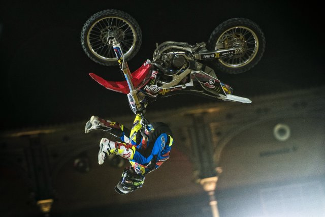 Josh Sheehan of Australia performs during the qualifying of the Red Bull X-Fighters at the Plaza de Toros de Las Ventas in Madrid, Spain on June 23, 2016.