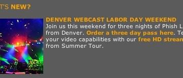 phish denver webcast labor day
