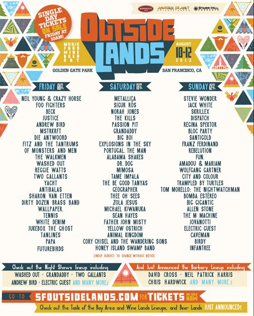 Outside Lands 2012 Daily Lineups Announced | LIVE music blog