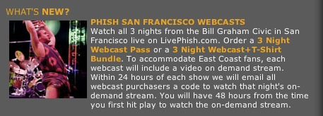 phish san francisco webcasts