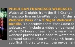 phish san francisco webcasts