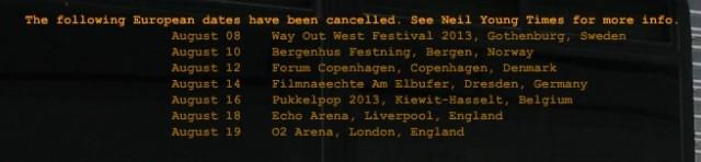 neil young european tour dates