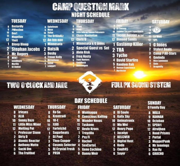 camp questionmark 2014 dj schedule