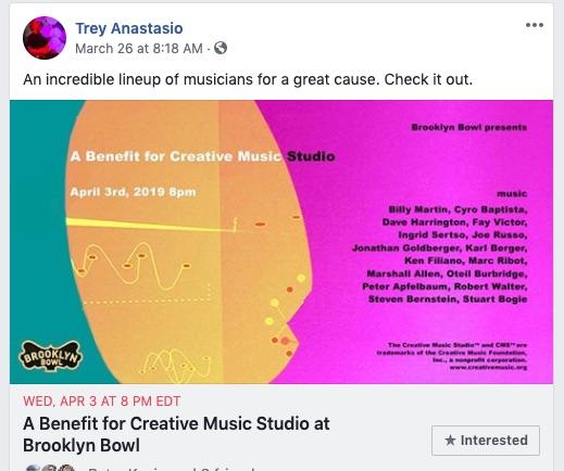 trey anastasio says to tune into the creative music studio webcast tonight april 3 2019