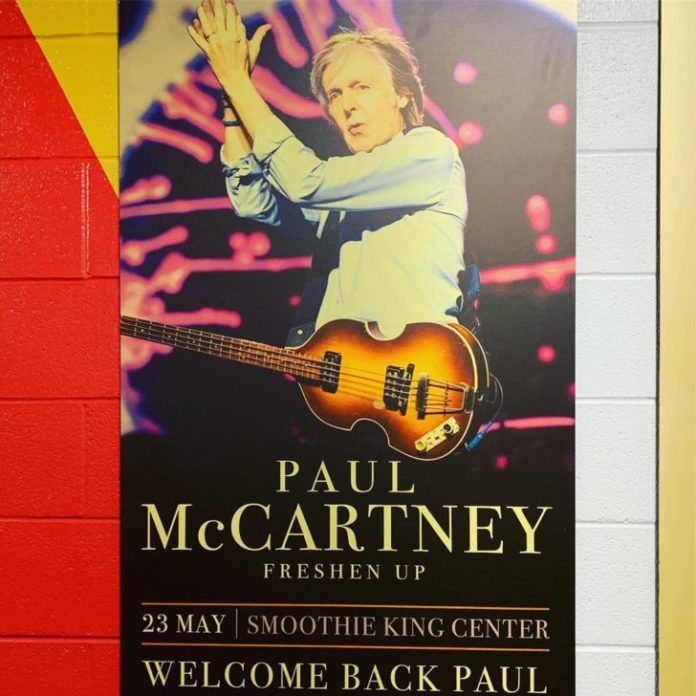 paul mccartney freshen up smoothie king center may 23 2019 poster welcome back paul