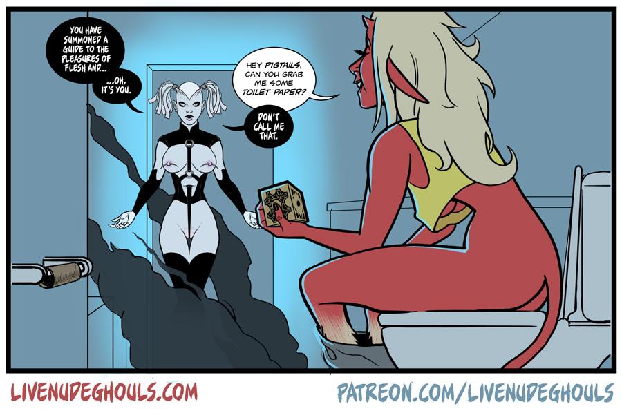 Devil girl Dorothy summons a cenobite to get her some toilet paper.