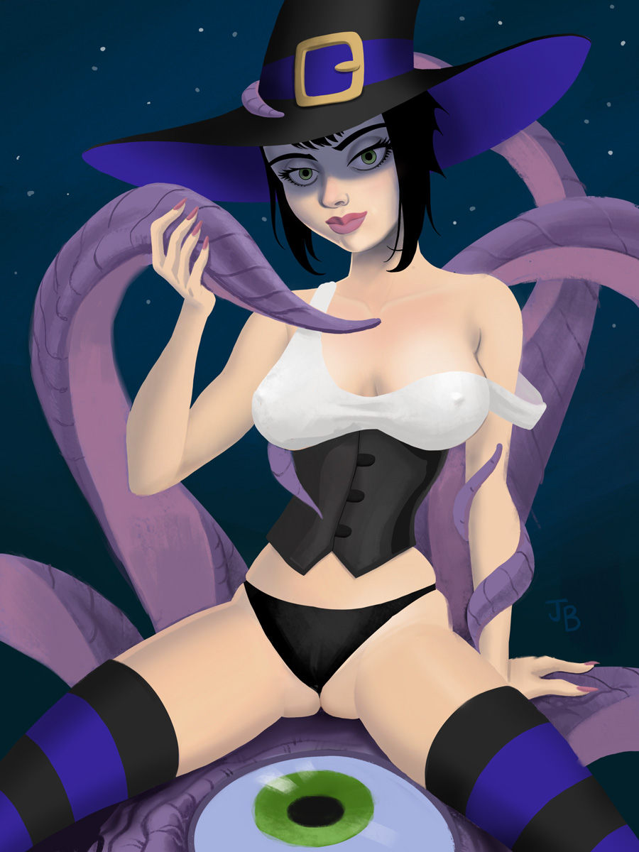 Witch Zoranna with tentacles for January's Pinup
