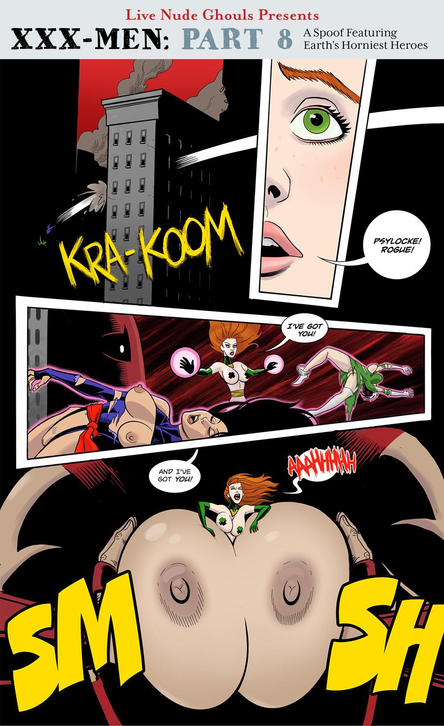 The Juggernaut smooshes Jean Gray between her massive breasts.