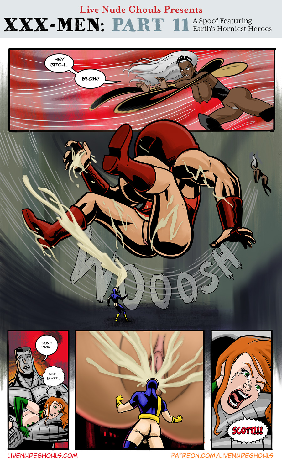 XXX-Men Page 11 - Storm sends Juggsernaut flying with a powerful gust of wind. Jean Grey screams out in Horror as Cyclops faces unavoidable disaster.