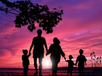 Family in the sunset