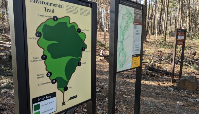 Maps and information at the Environmental Trail trail head at Kennesaw Mountain National Battlefield Park