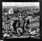 Rome 1927 Woodcut in grey and black, printed from 2 blocks. 438mm x 445mm.