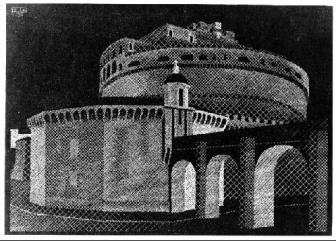 Nocturnal Rome: Castel Sant' Angelo 1934 Woodcut. 318mm x 223mm.