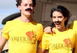 Cast of Queen Musical Celebrate Freddie's Birthday in Moustache Style