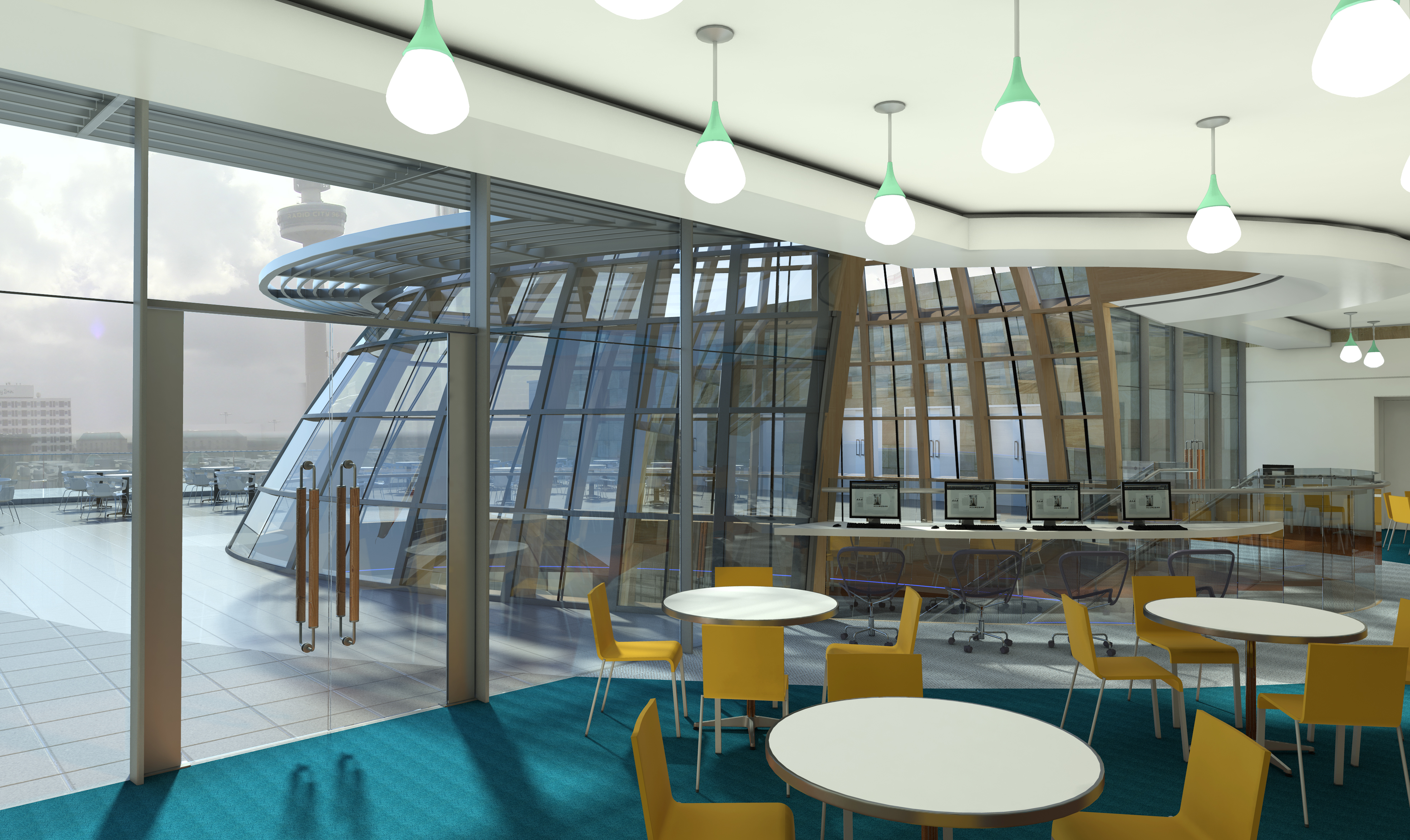 Artist impression of the fifth floor learning centre including rooftop glass dome