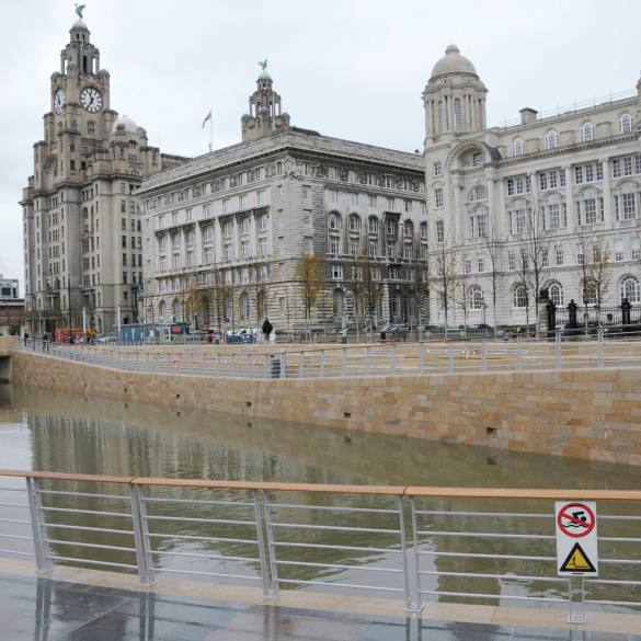 The new Canal Link at the Pier Head with the Liver Buildings behind