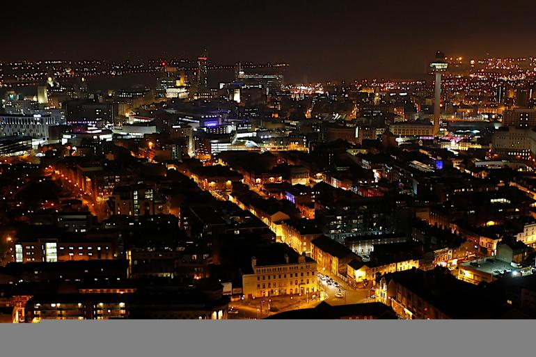 City at night from Liverpool Cathedral Tower