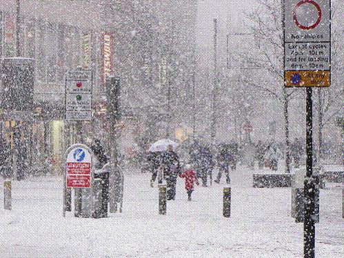 City centre snow scene