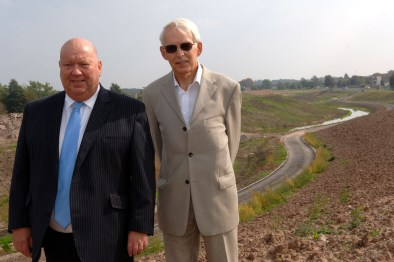Mayor Anderson and Richard Cass at the River Alt restoration project