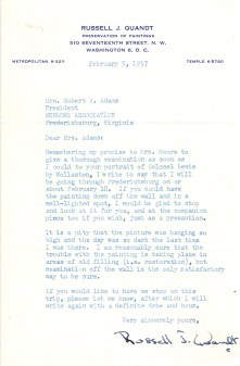 Letter from Russell Quandt to Mrs. Robert A. Adams, February 5, 1957, asking the painting be ready for him to examine during a trip through Fredericksburg. Kenmore Manuscript Collection.