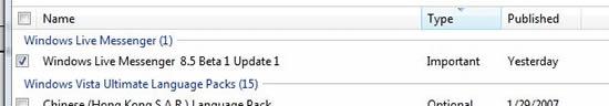 Windows Live Messenger 8.5 Beta 通过 Windows Update 更新