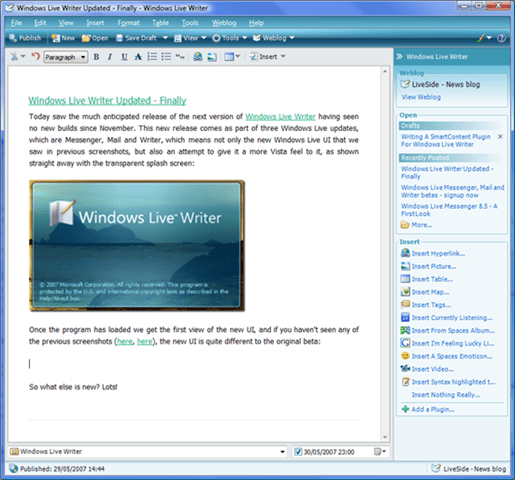 Windows Live Writer Beta 2 终于更新了