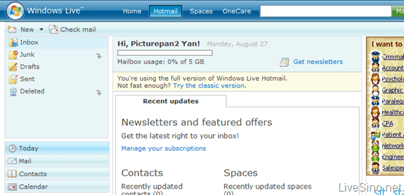 Windows Live Hotmail 版本历史回顾