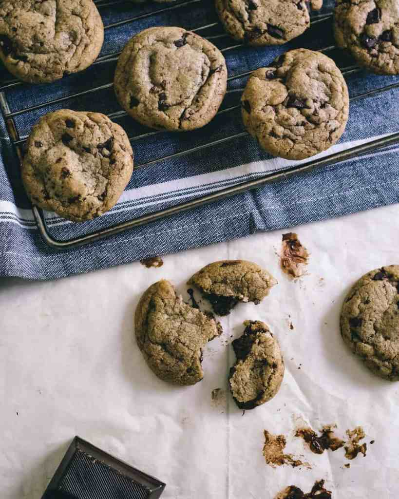 Chocolate chip cookies and a bar of chocolate