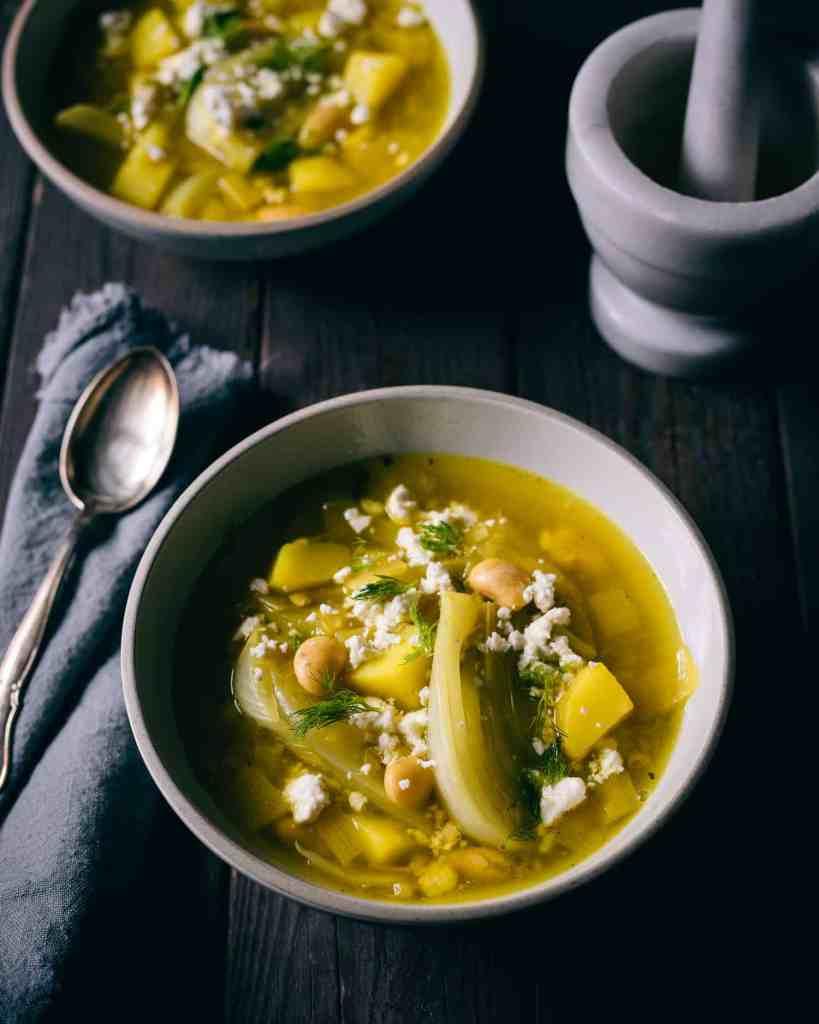Saffron fennel potato stew in a bowl