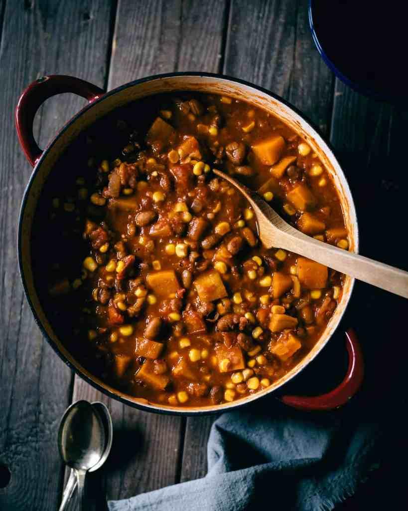 Sweet potato chili in a cast iron pot.