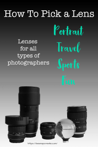 Text: How to pick a lens with pictures of 5 different lenses