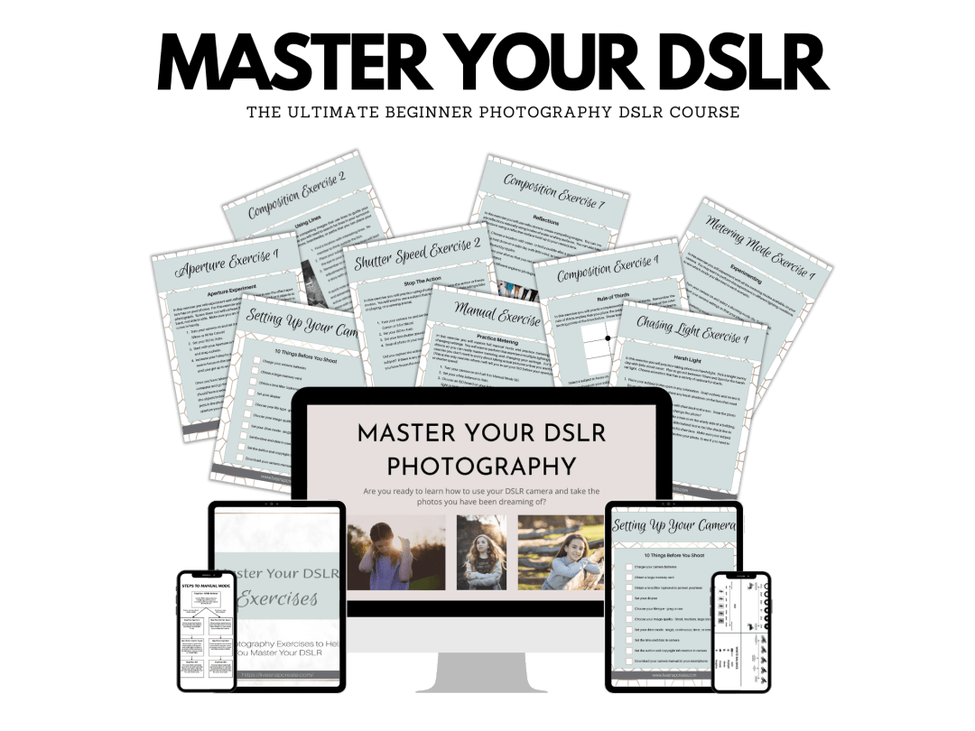 Master Your DSLR course mockup with images of course materials.
