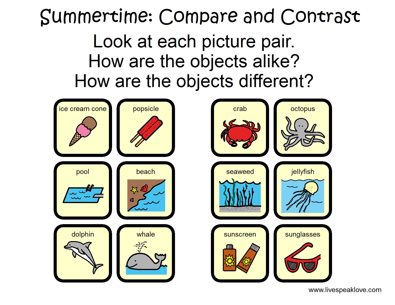 Summer Speech Language Activities
