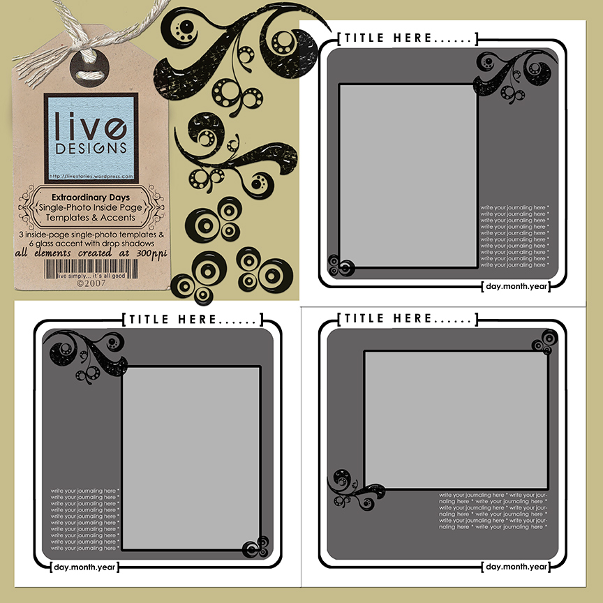 LivEdesigns ExtraordinaryDays Album Inside Page Templates & Accents