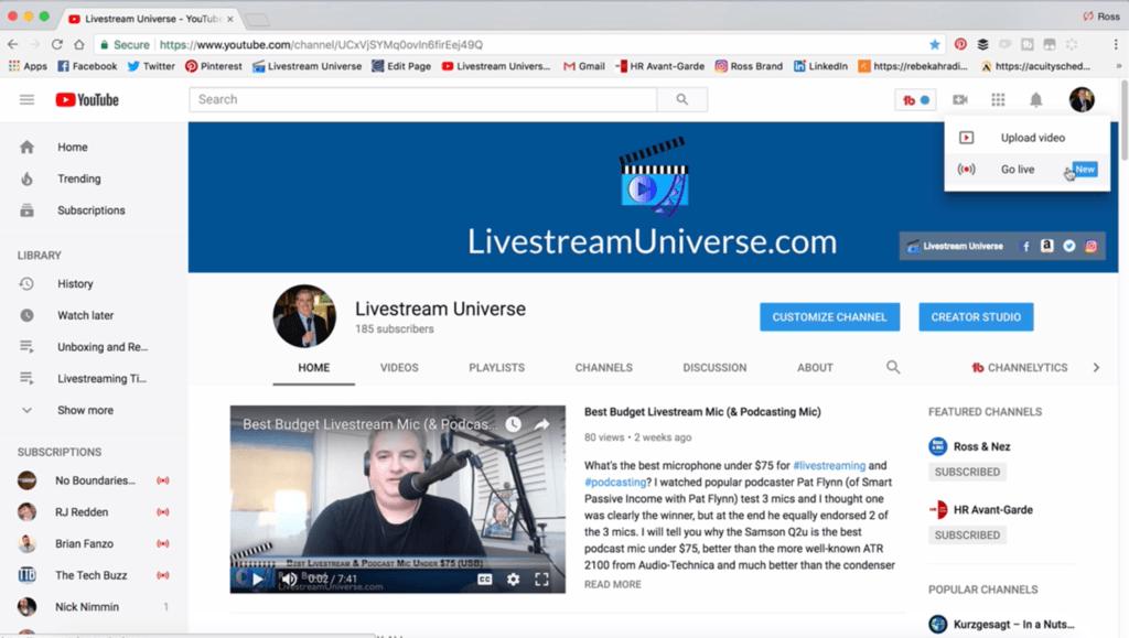Ross Brand YouTube Tutorial Livestream Universe