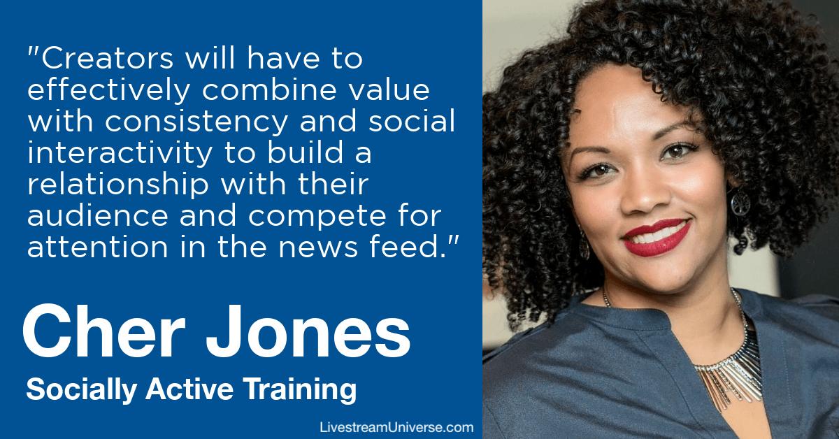cher jones socially active training livestream universe predictions 2020