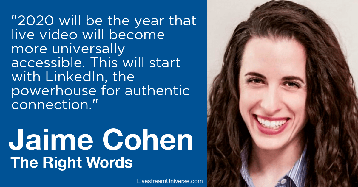 jaime cohen the right words livestream universe predictions 2020