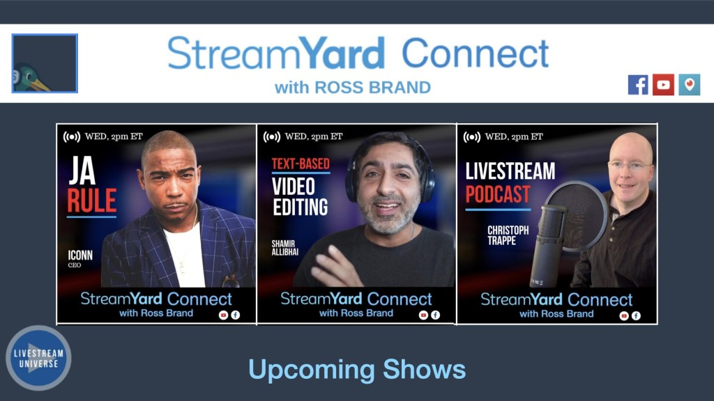 Quiet panel ep 61 StreamYard Connect with Ross Brand Upcoming Guests Ja Rule, MR Shamir, Christoph Trappe