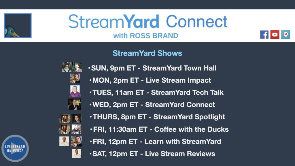 StreamYard Connect with Ross Brand Lineup of official streamyard shows