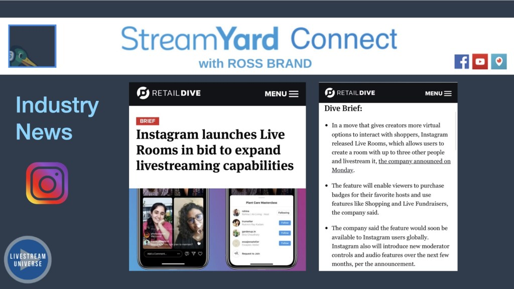 streamyard connec with ross brand instagram live rooms