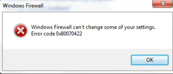 error code 0x80070422