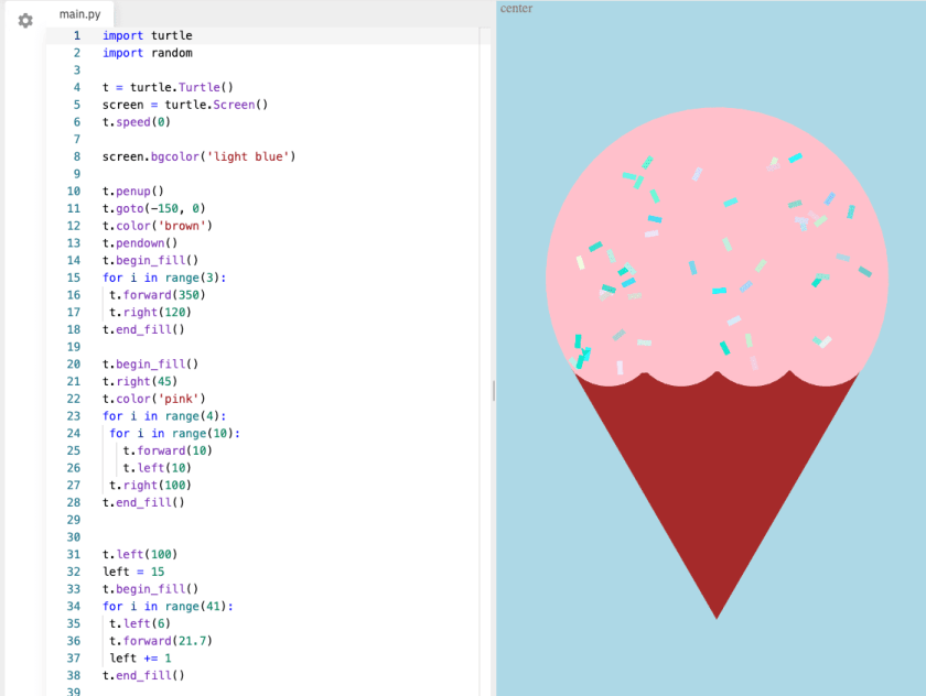A text-based Python with Turtle project for designing an ice cream graphic animation.