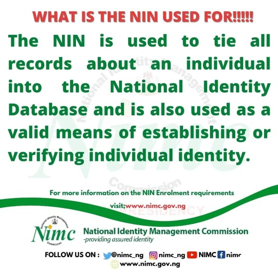 What is NIN Used for