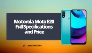 Motorola Moto E20 Full Specifications and Price
