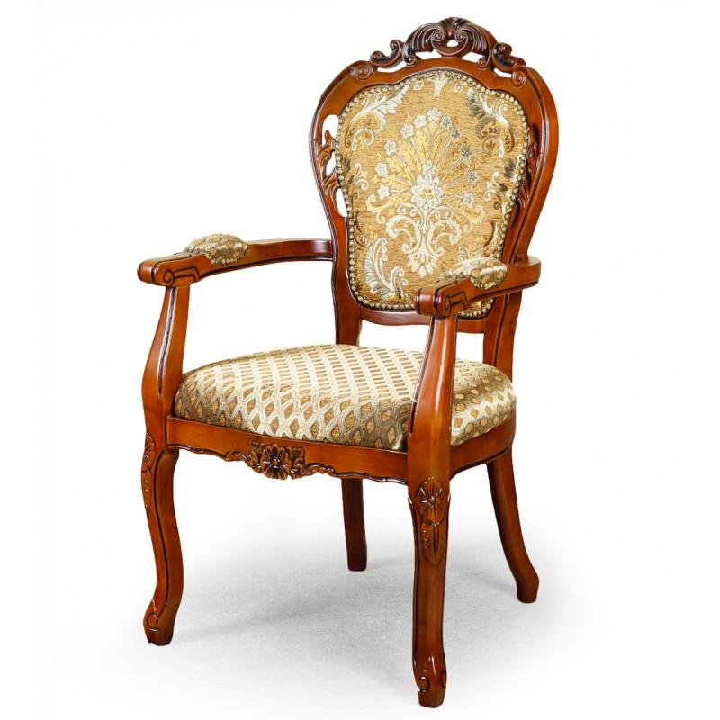 But it is the chair's futuristic design that catches our eye, pairing a classic black main scheme with understated colour trimmings and highlighting that looks fantastic in any of the five colours available (yellow, brown, red, grey or white). Dining chair with armrests louis baroque - LIVETIME.pl