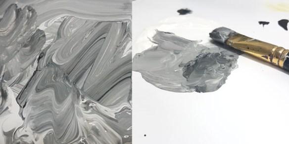 Så här kan det se ut när svart och vitt blandas till grått på paletten.