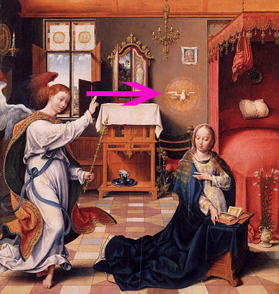 En av många kristna duvor som visar den heliga andes närvaro.