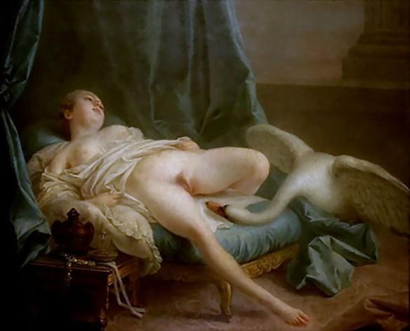 En målning som föreställer Leda och svanen.